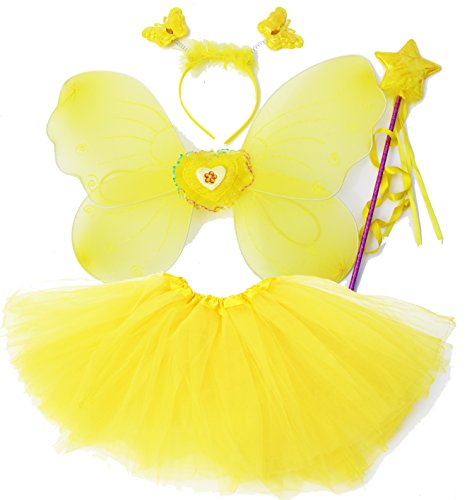 [Fun Play Butterfly Wings Magic Wand And Headband Fairy Costume Set Yellow One Size] (Wood Fairy Costumes)