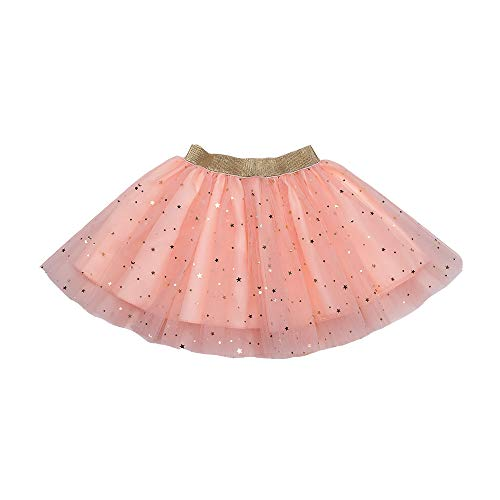 DOMIRY Tulle Tutu Skirt for Little Girls Layered Sparkle Star Princess Ballet Dance Dress Super Soft Puffy Skirts Clothes Glitter Children