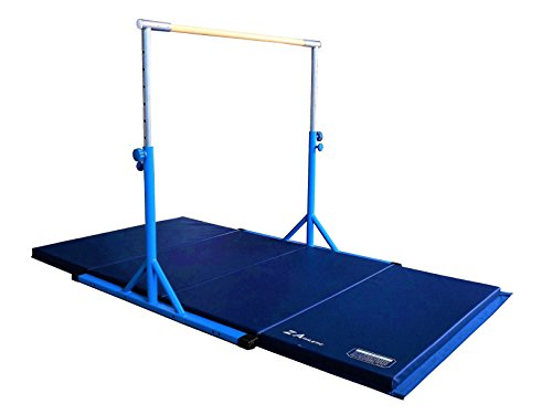 Z Athletic Expandable Kip Bar Adjustable Height for Gymnastics, Training & 4ft x 8ft x 2in Mat (Blue)