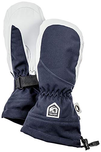 Hestra Heli Ski Womens Glove - Classic Leather Snow Mitten for Skiing and Mountaineering with Women's Fit - Navy/Offwhite - 9 from Hestra