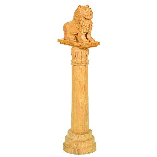 Fine Craft India Handicraft Wood Vaishali Lion Pillar Stambha Height: 12inch Color: Light ()