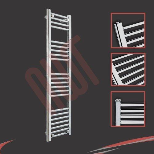 300mm(w) x 1200mm(h) Straight Chrome Heated Towel Rail, Radiator, Warmer 1326 BTUs Bathroom Central Heating Ladder Rail NWT Direct