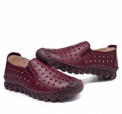 Mocassini Donna Fashion Scava Fuori Mocassini Da Guida In Pelle Slip-on Casual Flat Shoes Vino Rosso