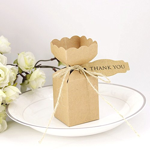 Kraft Favor or Gift Boxes Vase Shaped, Pack of 50, 2x2x2.5 Inch With Twines And Tags,Candy Cookies Goodies Cupcake Treat Gift Wrap Brown Boxes For Party Wedding Bridal Shower Christmas Favor