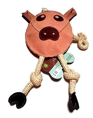 Flattie Pig Dog Play Toy Leather and Jute Rope Squeaker Fast 1st Class Shipping