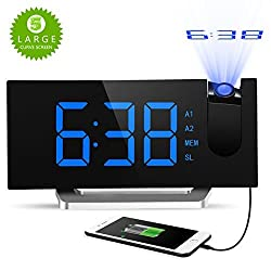 Digital Projection Clock, Atmoko FM Radio Alarm Clock with USB Charging Port, Dual Alarms, Snooze Function, [Curved-Screen] 5-inch Large LED Display with Dimmer, 12/24 Hours, Backup Battery-Blue