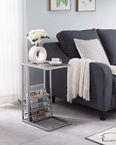 Silver Frame Finish with Reclaimed Oak Top C-Table Snack Side End Table Accent with Magazine Holder