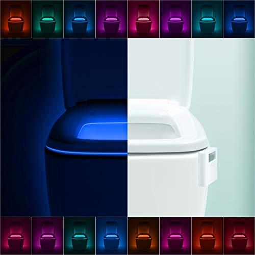 Caro Toilet Set - LumiLux Advanced 16-Color Motion Sensor LED Toilet Bowl Night Light, Internal Memory, Light Detection