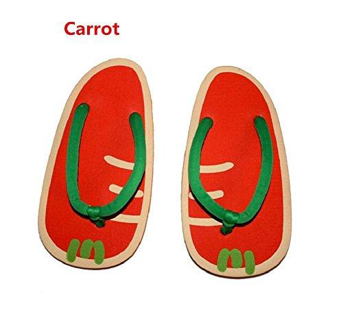 YYHSO Unisex flip flop conjunto de adultos - (juego de 2) zapatillas de la fruta de la historieta fresco / un tamaño 35-38 , orange carrot