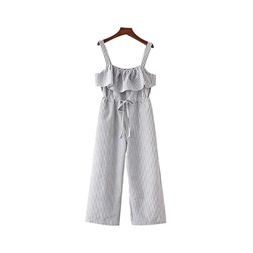 (Puissant Unique Women Bow Ruffles Striped Jumpsuits Pockets Straps Pleated Ladies Playsuits,Small,Aspicture)