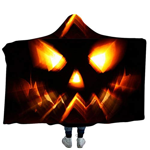 Facai Halloween Pumpkin Light Halo 3D Printed Plush Hooded Blanket for Adults Kid Warm Wearable Fleece Throw Blankets-130150cm