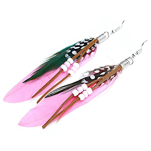 MELUOGE Bohemian Tassel Drop Earrings For Women Wedding Party Jewelry Natural Feather Dangling Earrings (Pink)