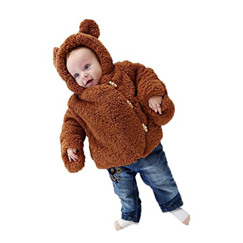 Raptop Toddler Baby Boys Girls bear ear Fur Hoodie Winter Warm Coat Jacket Cute Bear Shape Thick Clothes