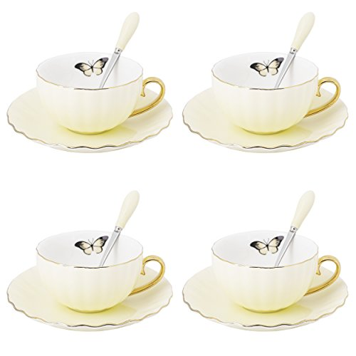 ARTVIGOR 12-Piece Wave-Shaped Coffee and Tea New Bone China Espresso Cup Sets Saucers and Spoons for 4, 14.6 X 14 X 4.1 Inches Light Yellow