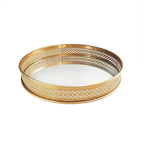 American Atelier Round Mirror Tray, 15 x 15 x 2.25-Inch, Gold (Stand Vanity Round Mirror)