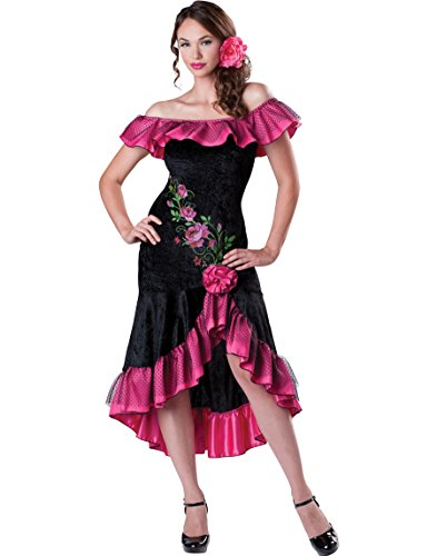 InCharacter Costumes Women's Flirty Flamenco Costume, Black/Pink, Small
