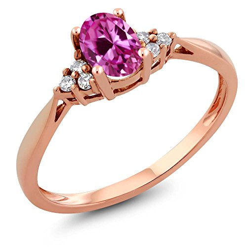 - 14K Rose Gold Pink Created-Sapphire and Diamond Women's Ring 0.56 cttw (Size 6)