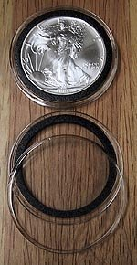 (10 Black Ring Type 40mm Air Tite Coin Holders for American Silver Eagles )