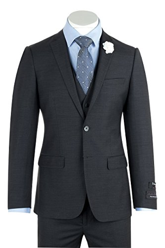 Wool Mens Italian Suit (Tiglio Luxe Sienna Charcoal Gray Slim Fit Pure Wool Suit & Vest TIG1010)