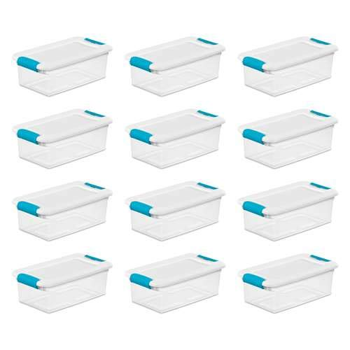 Sterilite 6-Quart Clear and Blue Stackable Latching Storage Box Container (12-Pack) (Sterilite Box Qt Storage 6)