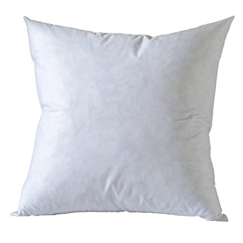 BASIC HOME 20X20 Square Feather & Down Pillow Insert, 100% Cotton Fabric,, White