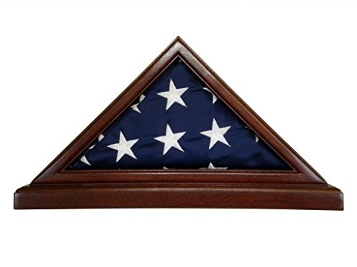 Solid Mahogany Flag Case WITH BASE for 3 x 5' Nylon Military Missions or Capital size Flag, USA Made ()