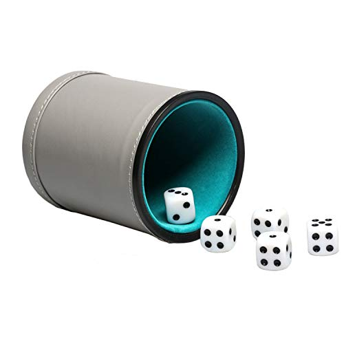 (Leatherette Dice Cup Set Felt Lined with 16mm Dot Dices Shaker for Yahtzee Bar Party Dice Games - Grey)