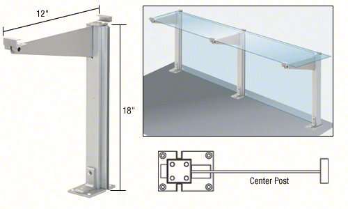 CRL Satin Anodized 18'' Center Partition Post With Shelf Bracket by C.R. Laurence
