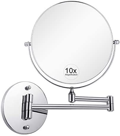 KEDSUM 8 1X 10X Wall Mount Bathroom Makeup Mirror Magnifying, Two-Sided Swivel Extendable,11.5-Inch Extension Chrome Finish