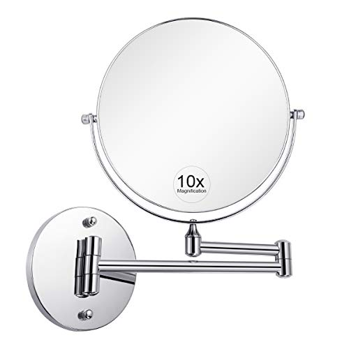 KEDSUM 1X 10X Wall Mount Bathroom Makeup Mirror Magnifying, Two-Sided Swivel Extendable,11.5-Inch Extension Chrome Finish 8 Inch