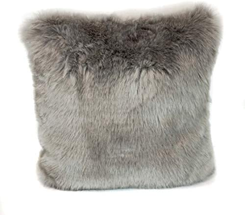 surell 100 Acrylic Faux Fox and Mink Fur Throw Pillow – Fuzzy Couch Pillow – Home Decor Grey