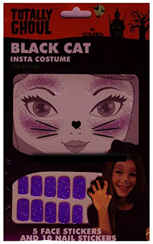 Totally Ghoul Girls Halloween Face Sticker Tattoos & Nail Stickers for Unicorn, Mermaid & Cat Costumes (Black Cat Face Tattoo & Nail Sticker) ()