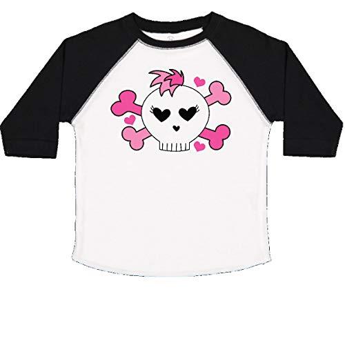 (inktastic - Skull Rocker Valentine Heart Toddler T-Shirt 4T White and Black f073)