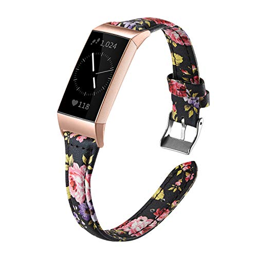 Shangpule Bands Compatible Fitbit Charge 3 for Women, Slim Premium Leather Band Flower Design Replacement Strap Accessories for Charge3 Large Small (Colorful Flower 2 with Rose Gold connectors)
