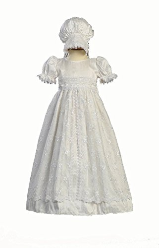 Trim Silk Gown (White Silk and Embroidered Tulle Christening Baptism Gown - L (12-18 Month))