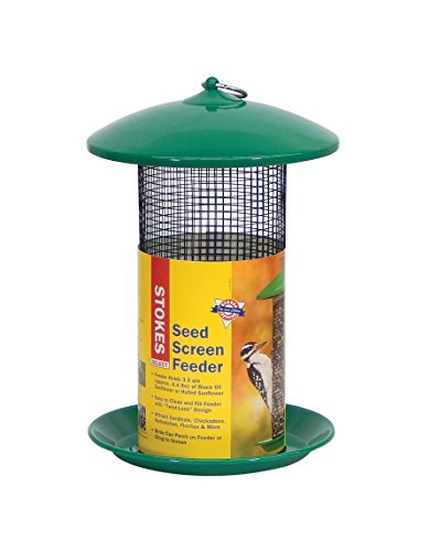 Cheap Stokes Select Mesh Screen Bird Feeder with Metal Roof, Green, 4.4 lb Seed Capacity