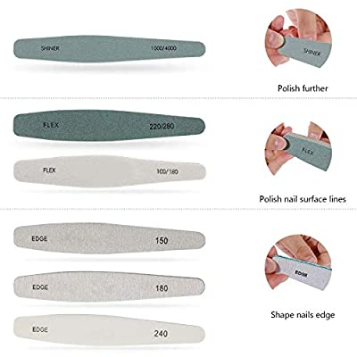 Nail file for Nail Polishing - Professional Fingernail Buffer Manicure Polisher Double Sided Availability for Crystal Natural Acrylic Nails