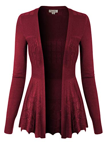 Design by Olivia Women's Long Sleeve Crochet Knit Draped Open Sweater Cardigan Burgundy 3XL