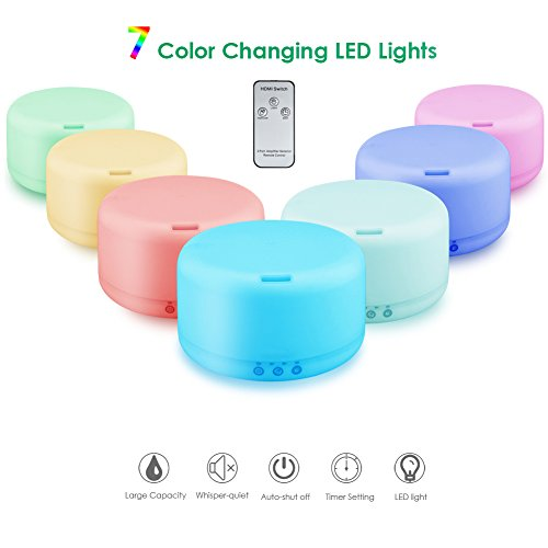 URPOWER 1000ml Essential Oil Diffuser Humidifiers Remote Control Ultrasonic Aromatherapy Diffusers Room Decor Running 20 Hours with Adjustable Mist Mode,Water less Auto Shut Off & 7 Color LED Lights