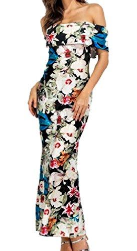 Coolred-femmes Minces Dos Nu Imprimé Maigre Hérisser Large Robe Pleine Longueur Épaule Pattern5