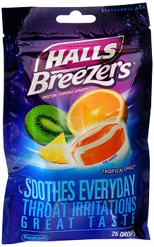 - Halls Breezers Drops Tropical Chill - 25 ct, Pack of 6
