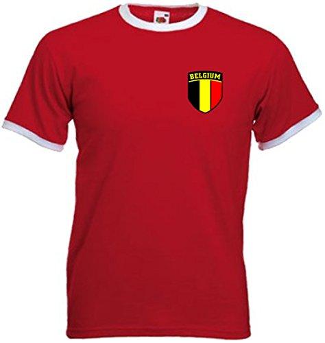 Invicta Screen Printers Belgium Belga Camiseta de Equipo de fútbol de Estilo Retro de Bélgica