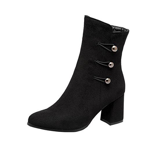 YE Damen Chunky Heels Ankle Boots Stiefeletten High Heels mit Reißverschluss und Perlen Elegant Modern Schuhe Schwarz