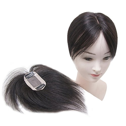 "Price comparison product image Moreal 6.7"" Straight Human Hair Top Pice Clip in Crown Topper for Women Thinning Hair (5x8cm, Natural Black)"