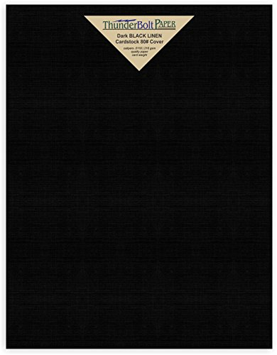 25 Black Linen 80# Cover Paper Sheets -8.5