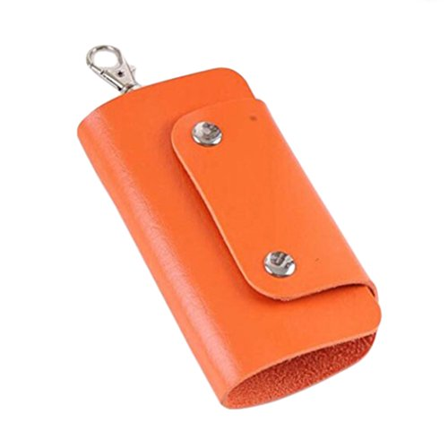 ALCYONEUS Faux Leather Key Organizer Case Bag Keychain Halter Magnet Tasche Gift Orange 95tsv