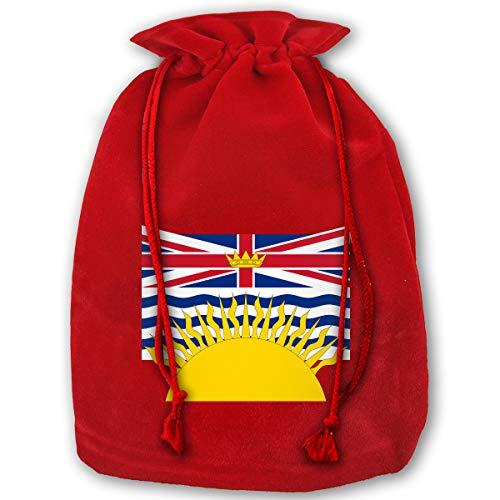 Hweoweek Bags Santa Sack with Drawstring, British Columbia Flag Reusable Fabric Present Wrapping Bag]()