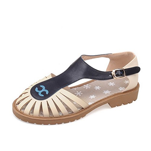 AllhqFashion Color Sandals Women's Soft Toe Low Assorted Beige heels Buckle Closed Material r4BqxUSrw