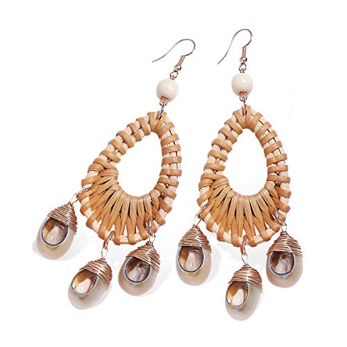 Yuiio Drop Earrings for Women, Rattan Shell Earrings with Handmade Straw Rattan Knit Hoop Bohemian Style, Best Gift for Mom, Sister and Girls, Brwon ()