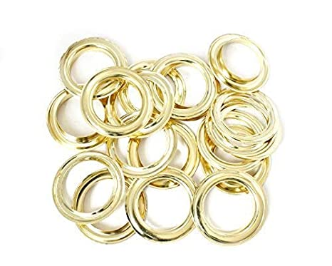 40mm Gold Eyelets Rings with Self-Backing Washers - Perfect for Curtains, Drapes and PVC Banners by Trimming Shop (10 Pieces)